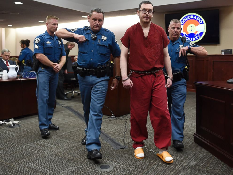 PHOTO:In this Aug. 26, 2015 file photo, Colorado theater shooter James Holmes is led out of the courtroom after being formally sentenced in Centennial, Colo.