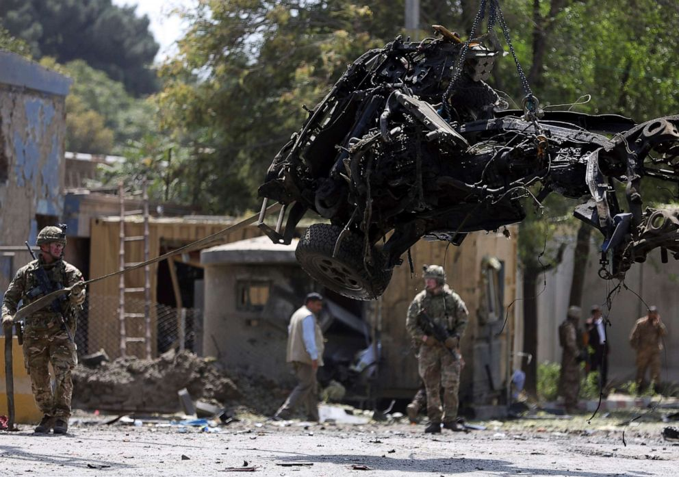 PHOTO: Resolute Support (RS) forces remove a damaged vehicle after a car bomb explosion in Kabul, Afghanistan, Sept. 5, 2019. A car bomb exploded near a neighborhood housing the U.S. Embassy in Kabul.