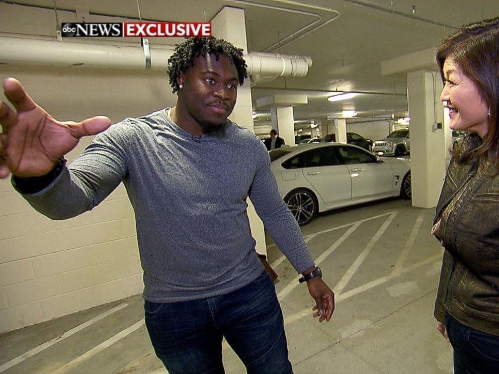 PHOTO: Carolina Panthers fullback Alex Armah shared his experience using a small security camera that caught a stranger breaking into his car.