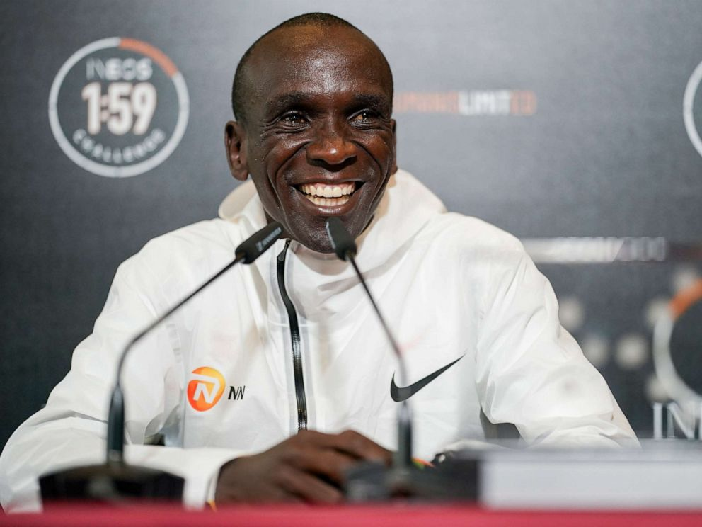 PHOTO: Eliud Kipchoge smiles as he talks to the media in a press conference after breaking the historic two hour barrier for a marathon in Vienna, Saturday, Oct. 12, 2019.