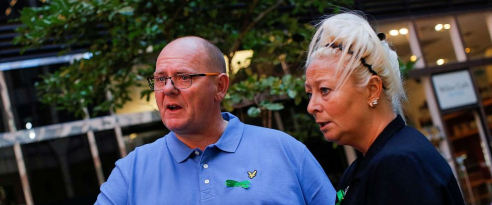 FILE PHOTO: Charlotte Charles and Tim Dunn, parents of British teen Harry Dunn who was killed in a car crash on his motorcycle, allegedly by the wife of an American diplomat, speakin New York City on October 15, 2019. REUTERS/Eduardo Munoz/File Photo