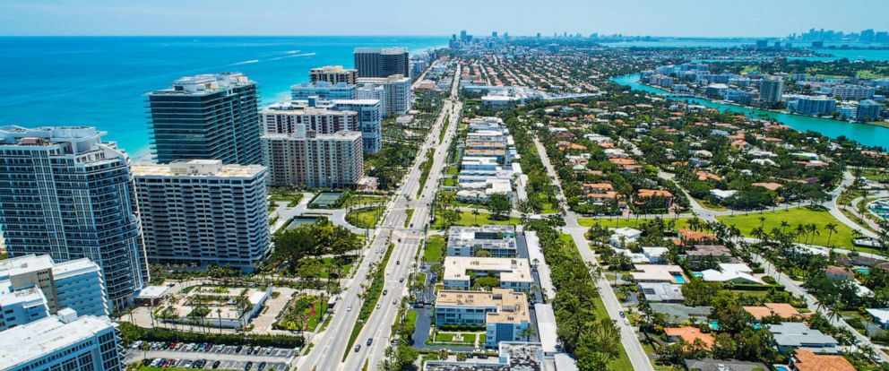 PHOTO: The coastal neighborhood of Bal Harbour, Fla., is shown in an undated drone photo.