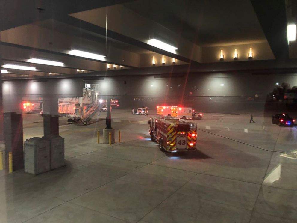 PHOTO: Emergency personnel responds after an equipment failure involving a jet bridge at Baltimore-Washington International Thurgood Marshall Airport, Dec. 29, 2018, in Baltimore.