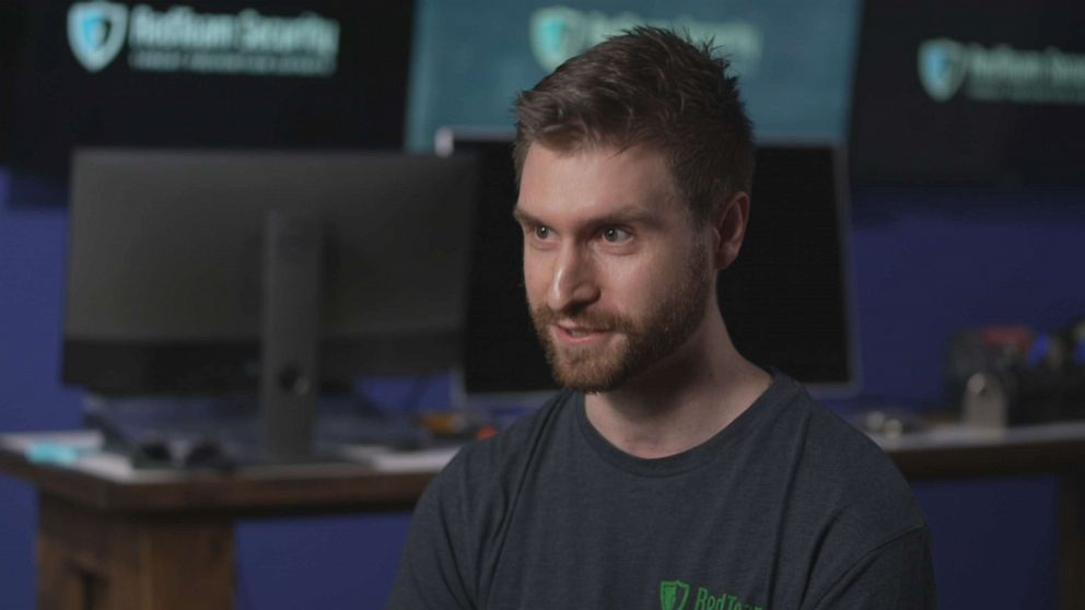 """PHOTO: Brian Halbach, a security consultant at RedTeam Security, tells """"Nightline"""" about his work helping companies defend themselves from cyberattacks."""
