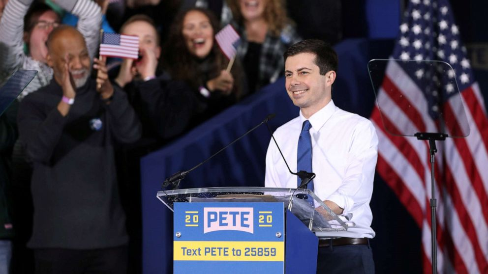 South Bend's Mayor Pete Buttigieg speaks during a rally to announce his 2020 Democratic presidential candidacy in South Bend, Ind., April 14, 2019.
