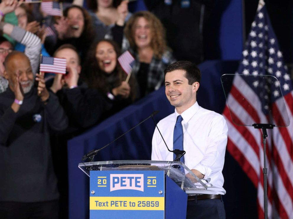 PHOTO: South Bends Mayor Pete Buttigieg speaks during a rally to announce his 2020 Democratic presidential candidacy in South Bend, Ind., April 14, 2019.