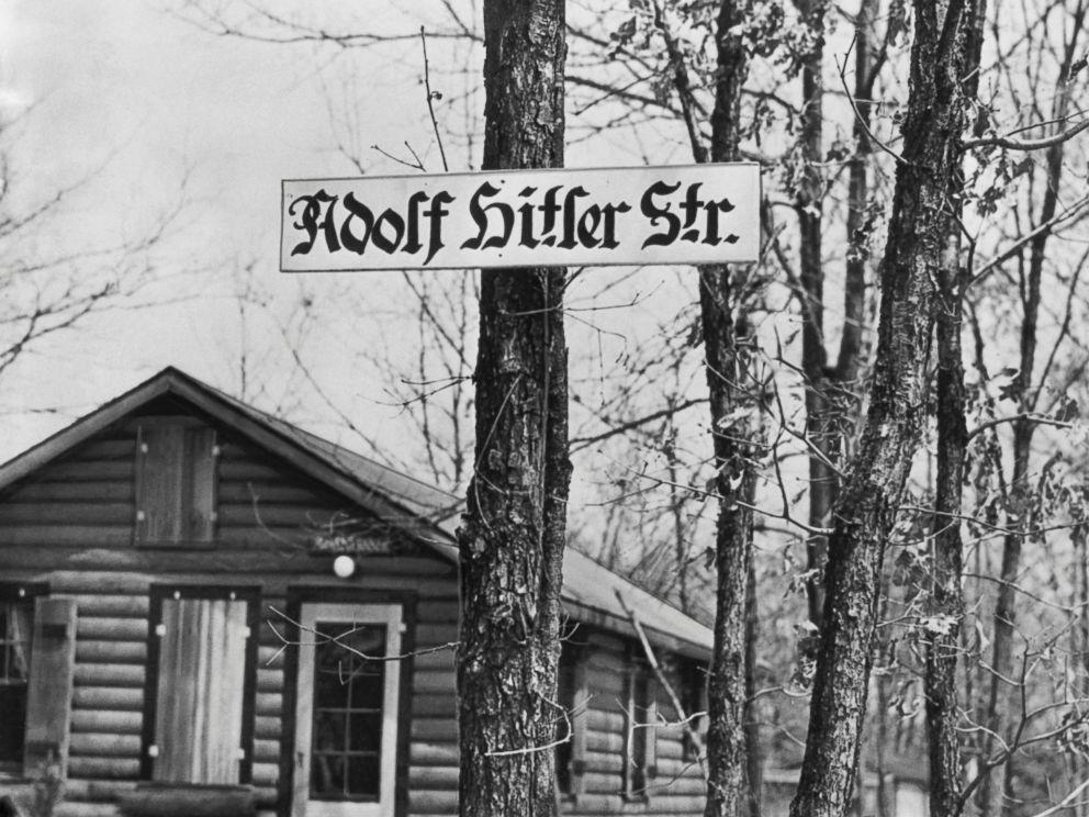 PHOTO:This Adolf Hitler Strasse is a street running through Camp Siegfried summer camp of the German American Bund, April 18, 1938, in Yaphank, New York.