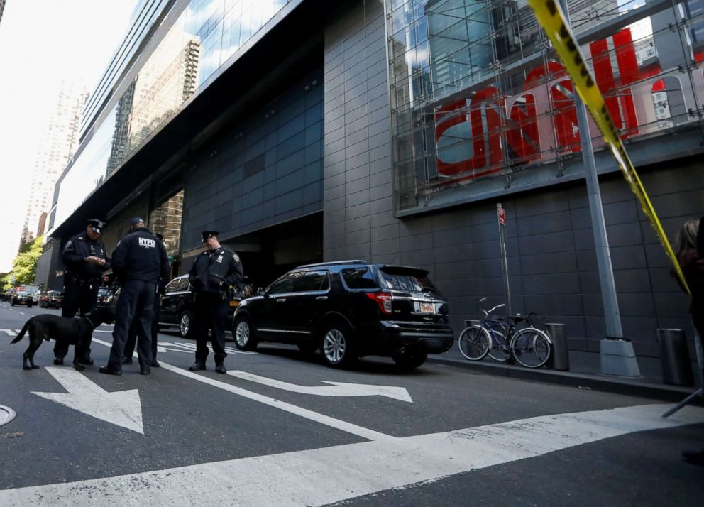PHOTO: Members of the New York Police Department are seen outside the Time Warner Center after a suspicious package was found inside the CNN Headquarters in New York, Oct. 24, 2018.