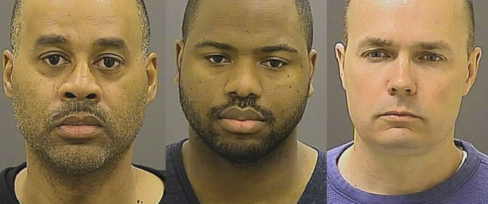PHOTO: Baltimore Police Department booking photos of officer Caesar R. Goodson Jr. (left), officer William G. Porter (center), and Lt. Brian W Rice (right). They are three of the six Baltimore police officers charged in the death of Freddie Gray.