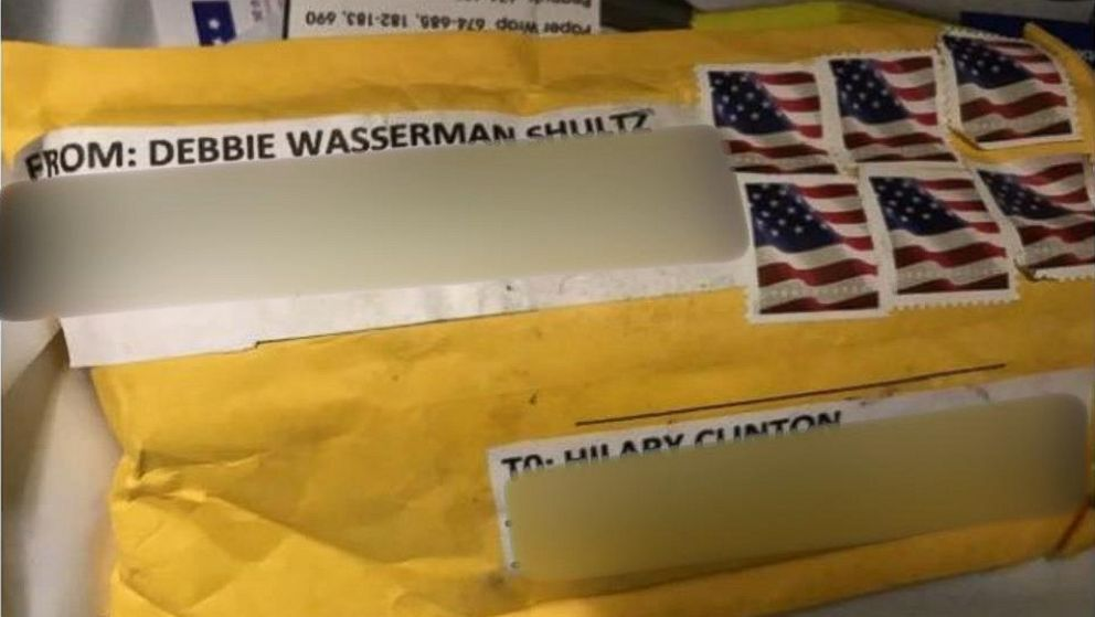 The package containing a explosive device addressed to Hillary Clinton's home in Chappaqua, N.Y., on Oct. 24, 2018.
