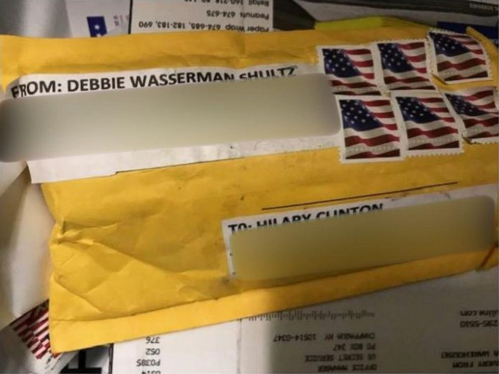 PHOTO: The package containing a explosive device addressed to Hillary Clintons home in Chappaqua, N.Y., on Oct. 24, 2018.