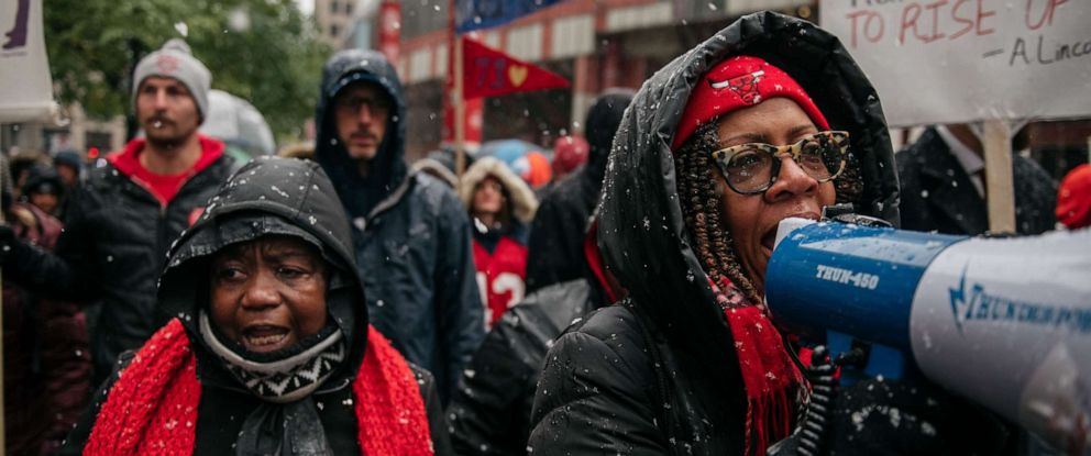 PHOTO: Braving snow and cold temperatures, thousands marched last week through the streets near City Hall during the 11th day of an ongoing teachers strike on October 31, 2019 in Chicago, Illinois. (Photo by Scott Heins/Getty Images)