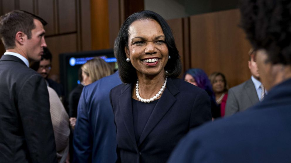 Condoleezza Rice arrives to introduce Brett Kavanaugh, Supreme Court associate justice nominee, Sept. 4, 2018.