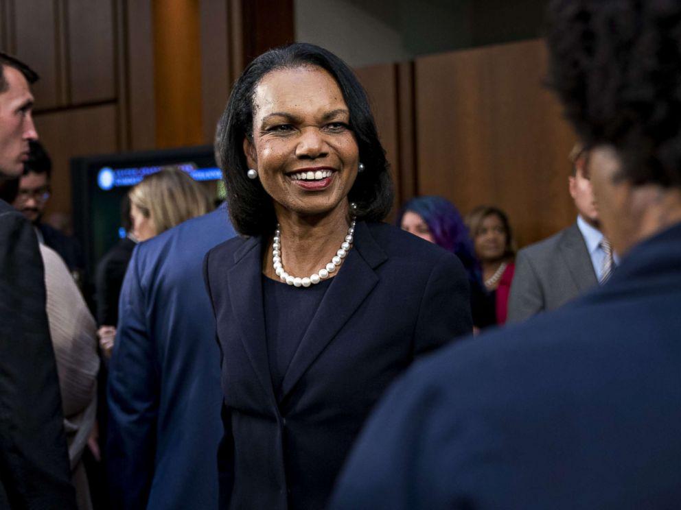 PHOTO: Condoleezza Rice arrives to introduce Brett Kavanaugh, U.S. Supreme Court associate justice nominee, Sept. 4, 2018.