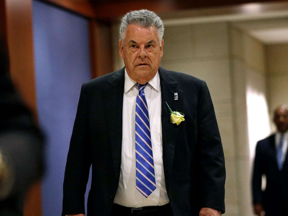 PHOTO: In this May 21, 2019, photo, Rep. Peter King, R-N.Y., arrives for a classified members-only briefing on Iran on Capitol Hill in Washington. King announced Monday, Nov. 11, 2019, he will retire in 2020. (AP Photo/Patrick Semansky, File)