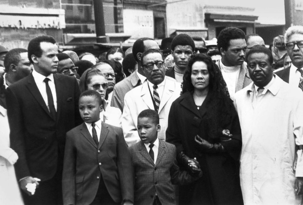 PHOTO: Coretta Scott King, wife of Dr. Martin Luther King Jr., leads a silent memorial march in her husbands memory, April 8, 1968, following his assassination in Memphis, Tenn.