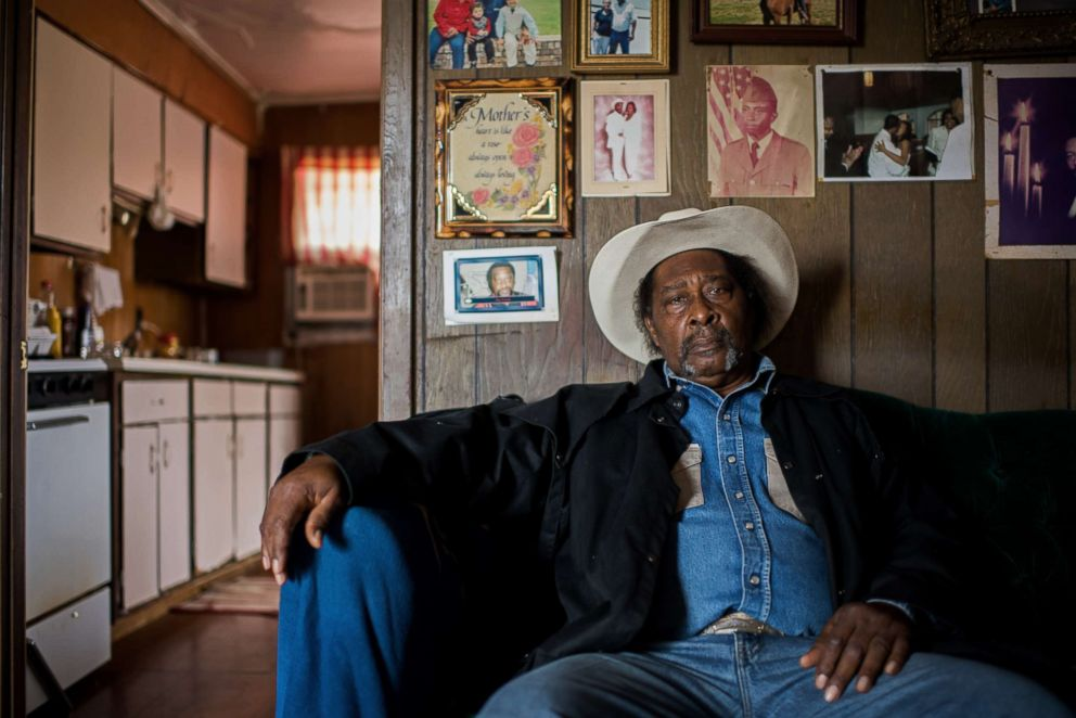 A cowboy named Frank poses for a portrait at his home in Shelby, Miss.