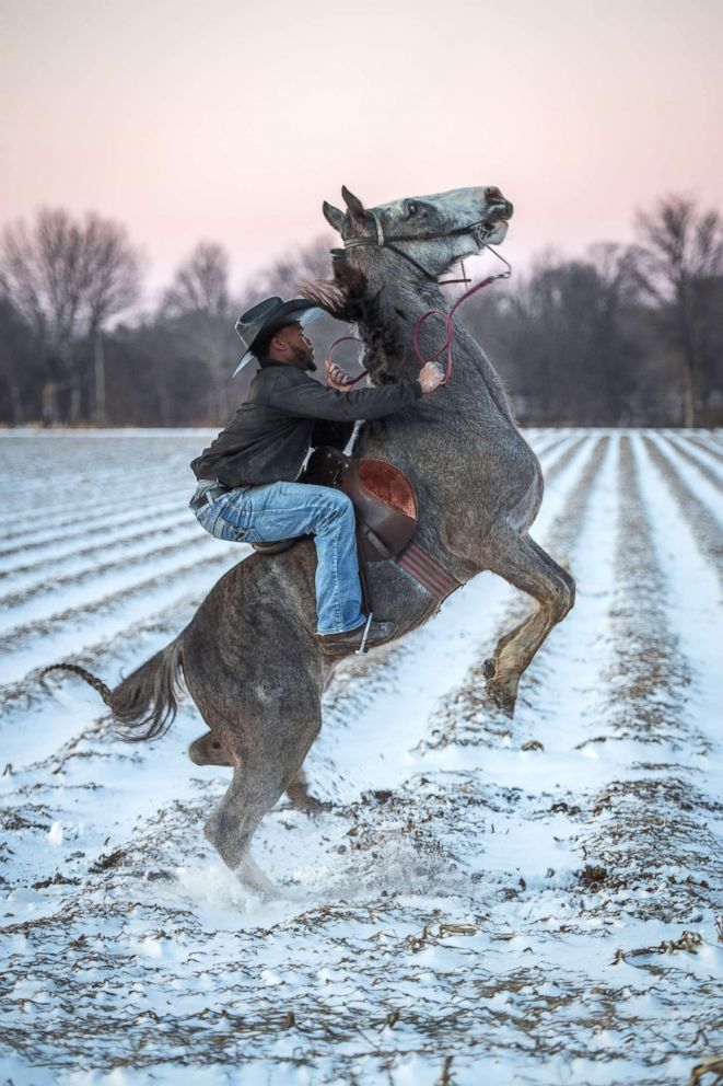 PHOTO: Gee rears his horse after a rare snowfall in Bolivar County, Miss.