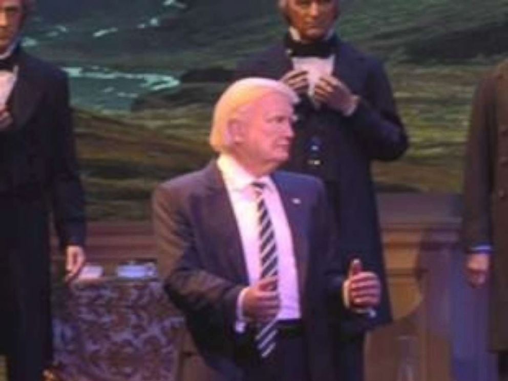 PHOTO: Walt Disney Parks & Resorts shows a preview of its new audio-animatronic figure of President Trump.