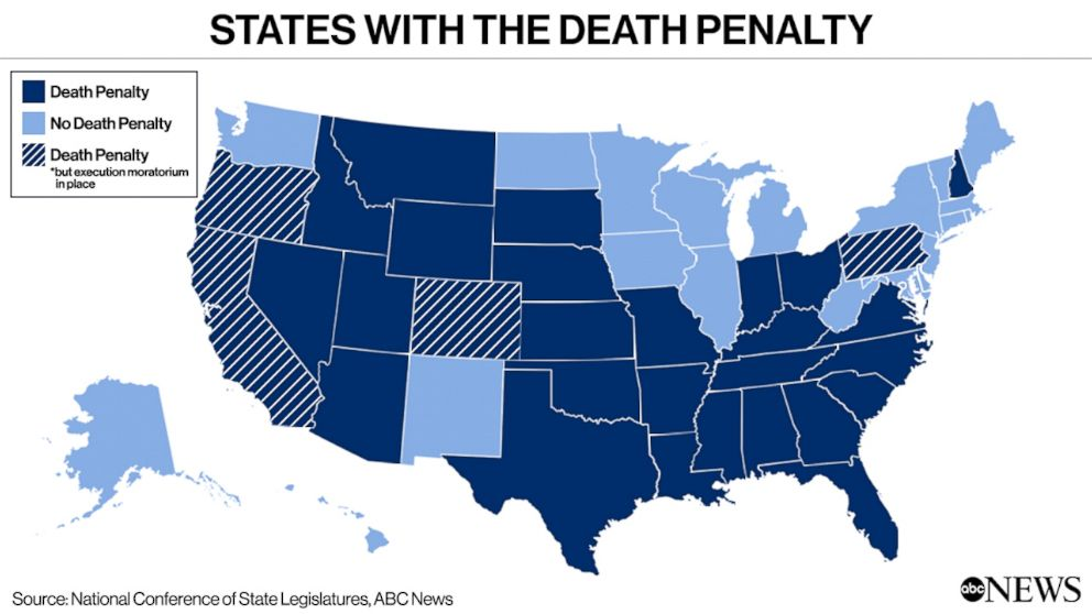 PHOTO: States with the Death Penalty
