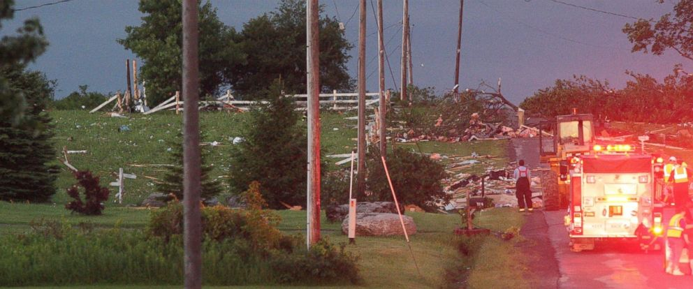 PHOTO: Storm damage is visible on Goff Road in the town Smithfield, New York, July 8, 2014.