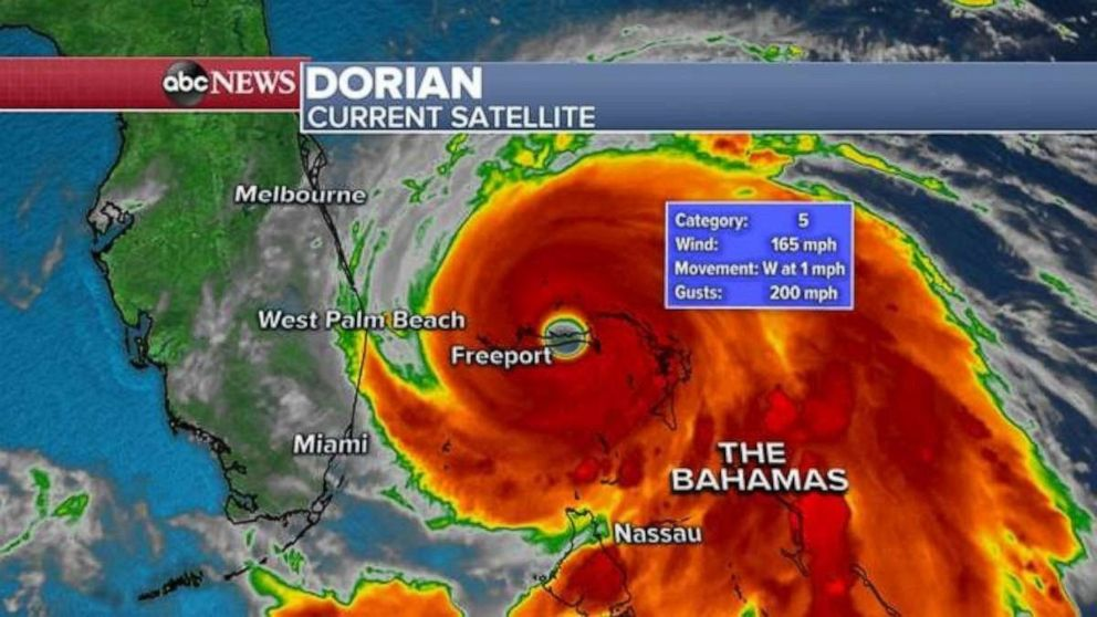 PHOTO: Hurricane Dorian has gusts of up to 200 MPH on Monday morning.