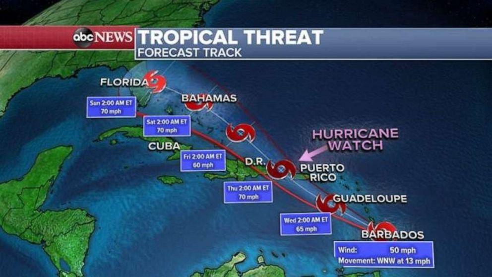 PHOTO: Tropical Storm Dorian is expected to develop into a hurricane some time this week.