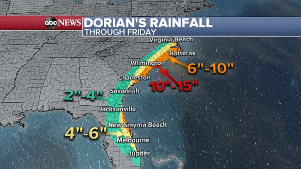 PHOTO: Over the next several days, more than a half foot of rain is possible along portions of the Southeast coast.