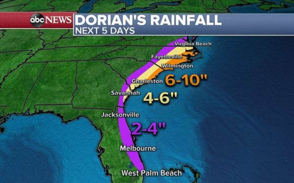 PHOTO: No matter where Hurricane Dorian makes landfall, heavy rain is expected across the entire Southeastern seaboard.