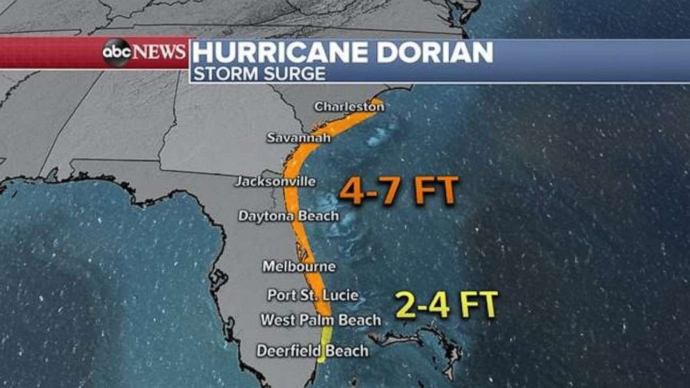 PHOTO: Hurricane Dorian could cause storm surges of up to 7 feet high in parts along the Atlantic coast.
