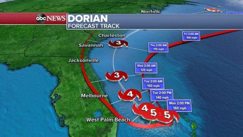 PHOTO: The forecast track for Hurricane Dorian, Sept. 2, 2019.