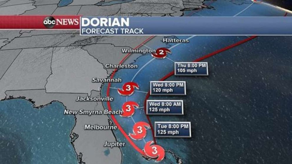 PHOTO: Dorian remains at a standstill as a Category 3 storm with 120 mph sustained winds, packing gusts up to 150 mph