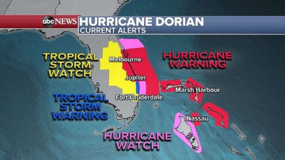 PHOTO: Hurricane warnings are in effect in parts of the eastern coast of Florida on Monday morning.
