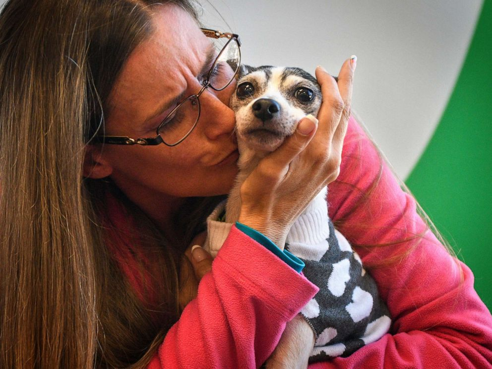 PHOTO: Katheryn Strang is reunited with her toy fox terrier Dutchess at Humane Animal Rescue on Friday, Oct. 11, 2019 in Pittsburgh.