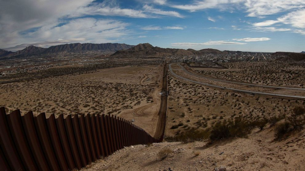 View of the border fence between the US states of Texas and New Mexico, left, and Ciudad Juarez, Mexico, right, on Jan. 25, 2017.