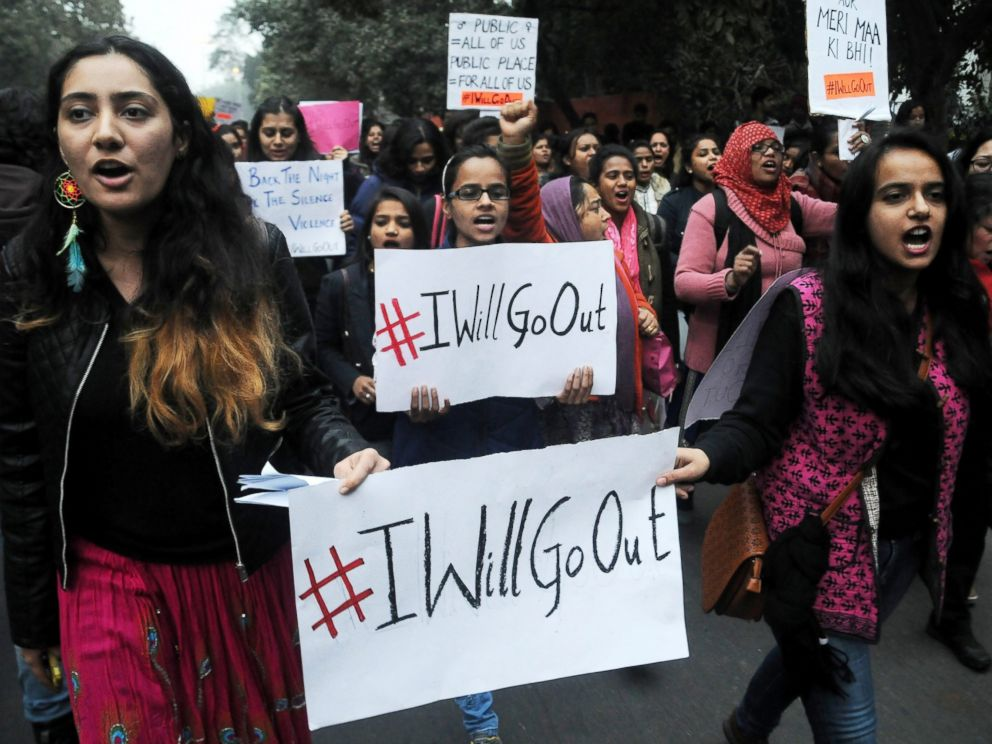 PHOTO: Demonstrators hold placards during the Womens March rally in New Delhi, India, Jan. 21, 2017.