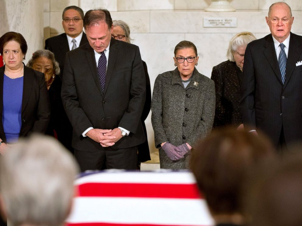 PHOTO: Supreme Court Justices Elena Kagan, Samuel Anthony Alito, Jr., Ruth Bader Ginsburg, and Anthony M. Kennedy are seen in the Great Hall of the Supreme Court where late Supreme Court Justice Antonin Scalia lies in repose in Washington, Feb. 16, 2016.