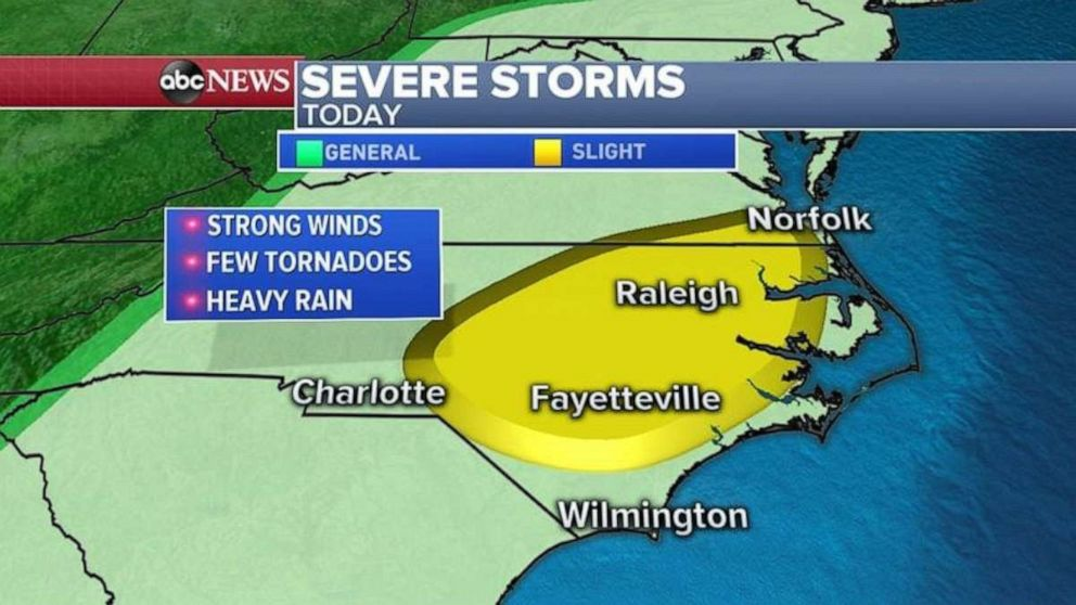 PHOTO: The biggest threat for damaging winds will be from southern Virginia to North Carolina