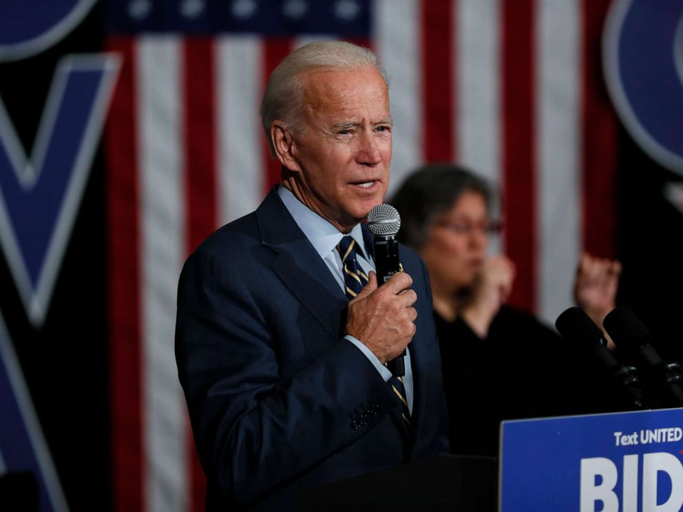 PHOTO: Democratic presidential candidate former Vice President Joe Biden speaks during a town hall meeting, Monday, Nov. 11, 2019, in Oskaloosa, Iowa. (AP Photo/Charlie Neibergall)