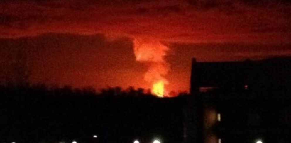 PHOTO: A gas line explosion in Adair County, Ky., could be seen from about 20 miles away, Feb. 13, 2014.