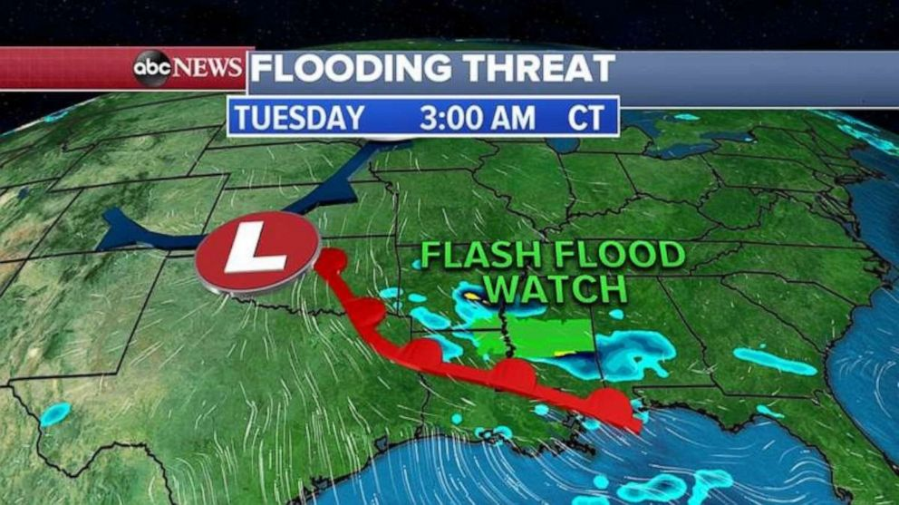 PHOTO: Already this morning ahead of the storm, 3 states -– Arkansas, Louisiana and Mississippi -- are under Flash Flood Watch.