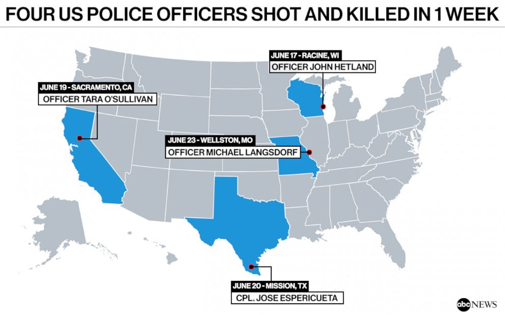 PHOTO: Four police officers were shot dead in one week in the U.S.