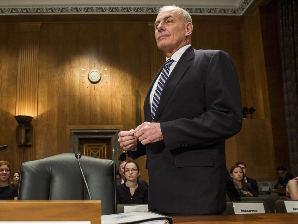 PHOTO: Secretary of Homeland Security John Kelly arrives before testifying during a Senate Homeland Security Committee hearing on April 5, 2017 on Capitol Hill in Washington, D.C.