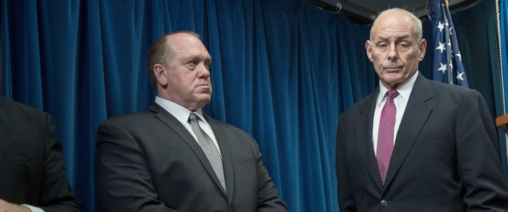 PHOTO: U.S. Immigration and Customs Enforcement (ICE) Acting Director Thomas Homan, left, and Secretary of Homeland Security John Kelly listen to questions during a press conference concerning travel and refugees, January 31, 2017 in Washington, DC.