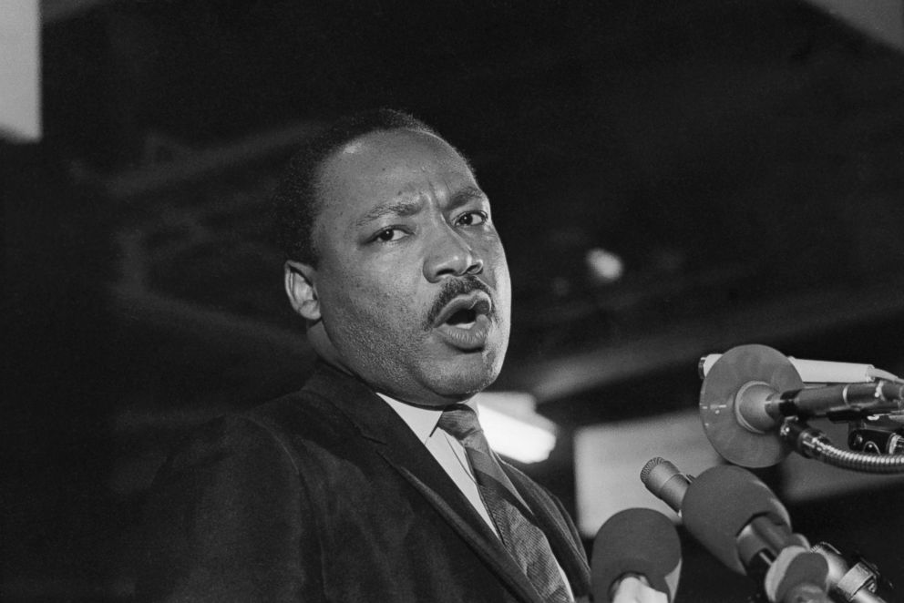 PHOTO: Caught in a somber mood, Dr. Martin Luther King addresses some 2,000 people on the eve of his death.