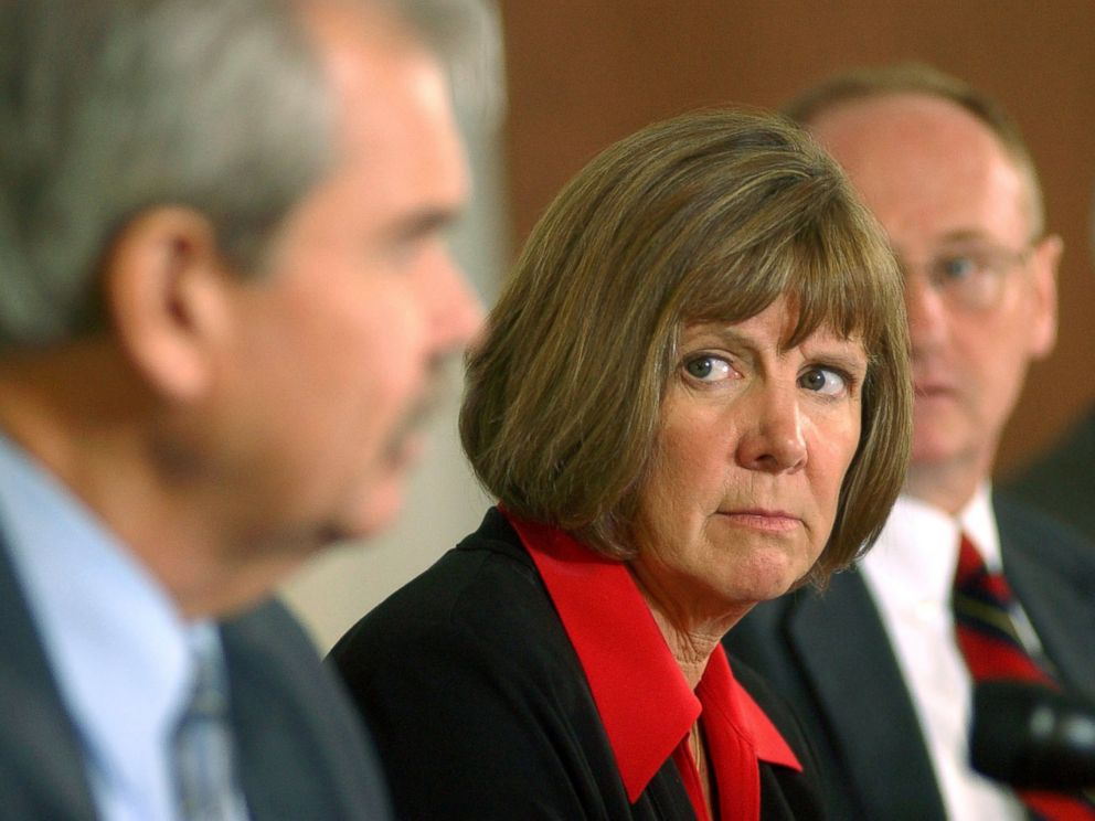 PHOTO: District Attorney Mary Lacy talks to the media during a press conference at the Boulder County Justice Center Aug. 29, 2006 in Boulder, Colorado.
