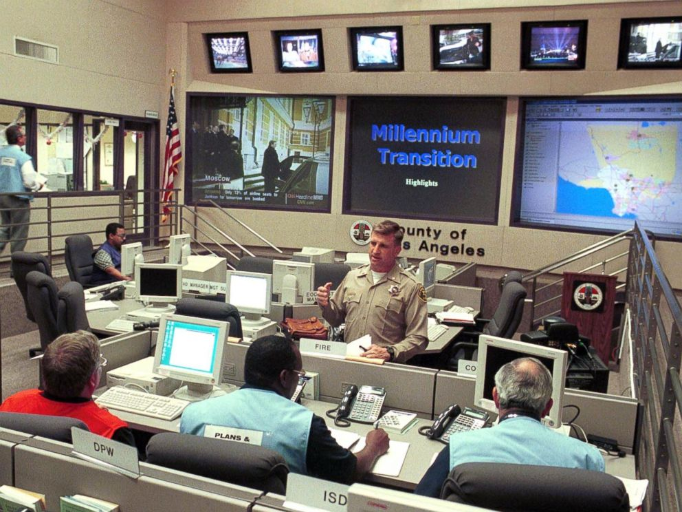 PHOTO: Personnel at the Los Angeles County Emergency Operations Center monitor their stations to provide Y2K updates, Dec. 31, 1999.