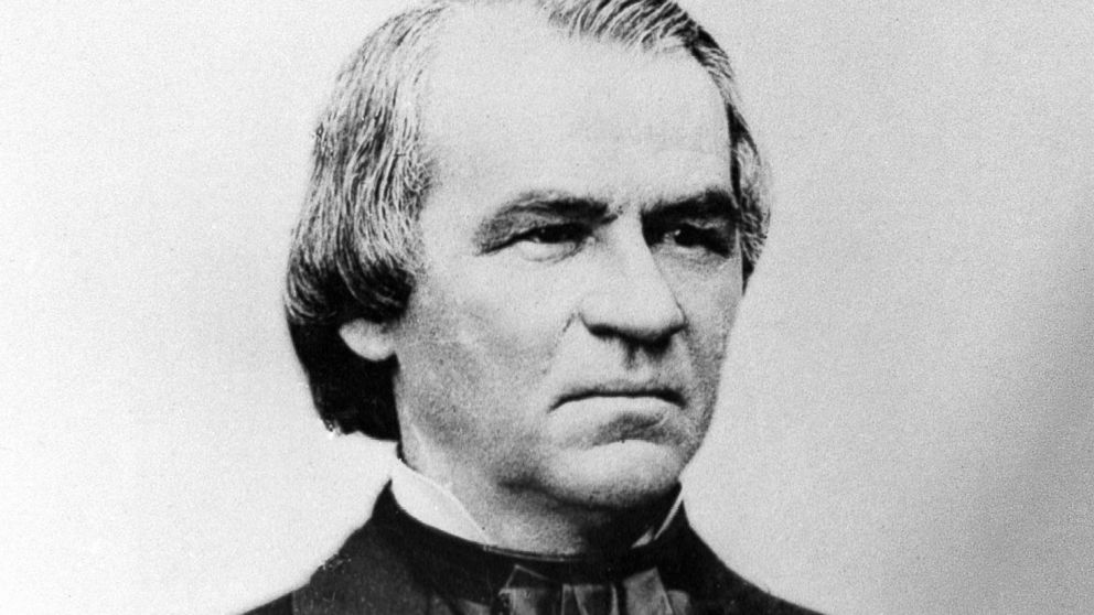 An engraving showing President Andrew Johnson in 1868.