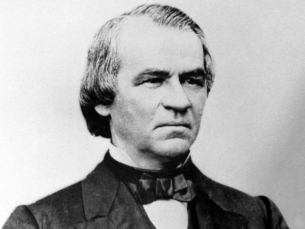 PHOTO: An engraving showing President Andrew Johnson in 1868.