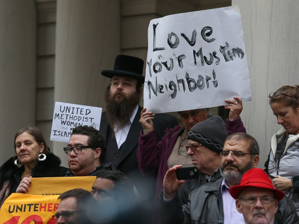 PHOTO: Religious leaders from varied religions and beliefs hold a joint press release during a protest against hate speech of Republican presidential candidate Donald Trump in front of New York City Hall, Dec. 9, 2015, in New York City.